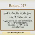 Bakara 117 Âyet-i Kerim duaların kabulü
