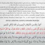 Her namazdan sonra Ayetel kürsiden önce bu duayı okuyan