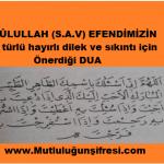Rasûlullah (s.a.v) Efendimizin her türlü dilek ve sıkıntı için önerdiği  Dua